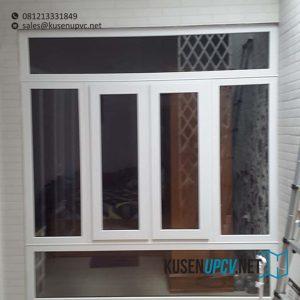jual jendela upvc swing warna putih di pondok betung id8508