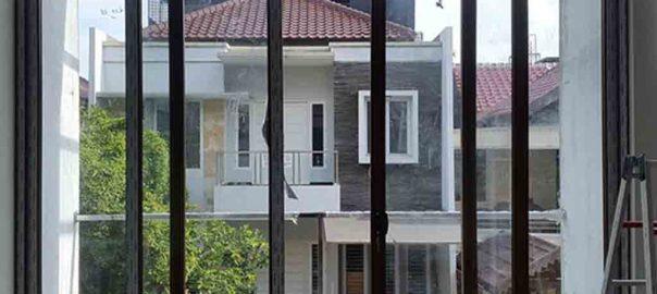 jual pintu upvc sliding serat kayu kombinasi kaca mati id8501