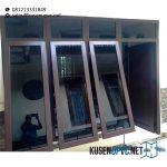 Jendela UPVC Warna Coklat Model Jungkit CustomId5857